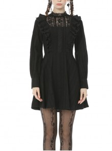 Lace Frilly Chest Flower Embroidery Long Sleeves Black Gothic Dress
