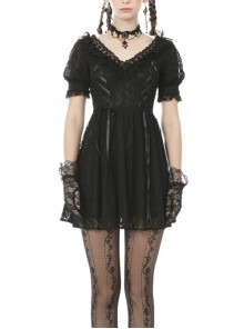 Lace V-Neck Chest Lace-Up Short Sleeves Black Gothic Dress