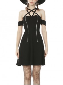 Off-Shoulder Sexy Star-Shaped Straps Zipper High Waisted Black Punk Dress