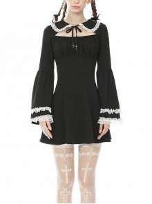White Lace Frilly Doll Collar Lace-Up Long Sleeves Black Gothic Dress