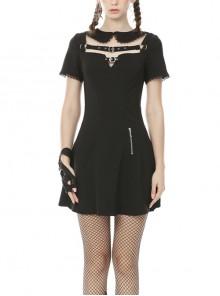 Doll Collar Chest Hollow Leather Bandage Zipper Black Punk Locomotive Dress