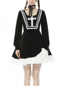 Black Chest Cross Frilly Long Sleeves White Lace Hem Gothic Dress