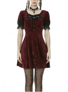 Wine Red Chest Lace-Up Short Sleeves Lace Cuff Button Classic Gothic Dress