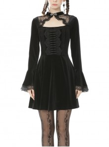 Black Chest Hollow Long Sleeves Lace Cuff Gothic Vampire Velvet Dress