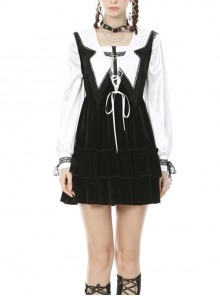 Black V-Neck Lace-Up Gothic Academy Velvet Vest Dress