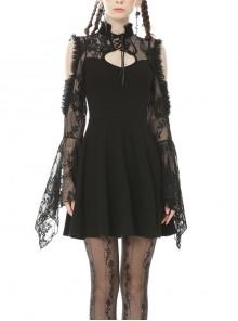 Lace Off-Shoulder Lace-Up Collar Long Sleeves Black Punk Rock Dress