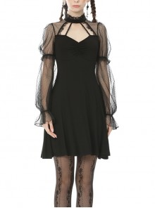Chest Hollow Lace-Up Long Mesh Sleeves Sexy Black Gothic Dress