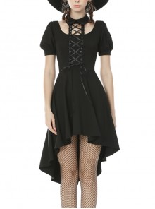 Lace-Up Hanging Neck Short Sleeves Rear Long Hem Black Punk Rock Dress