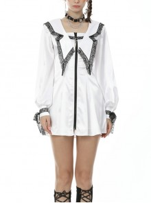Black Lace Frilly Collar Cross Long Sleeves Lace-Up Cuff White Gothic JK Dress