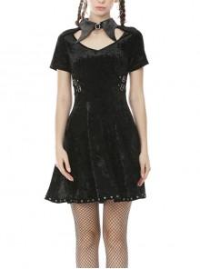 Black Chest Hollow Cross Pendant Leather Bandage Waisted Gothic Velvet Dress