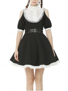 Off-Shoulder White Frilly Collar Button Leather Bandage Waisted Lace Hem Black Gothic Dress