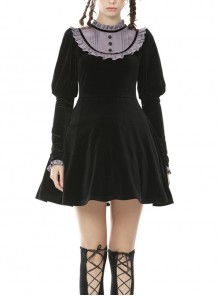 Purple Frilly Doll Collar Button Long Sleeves Black Gothic Dress