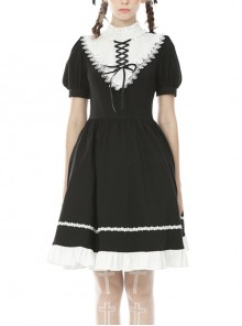 White Inverted Triangle Frilly Collar Chest Lace-Up Short Sleeves Black Gothic Dress