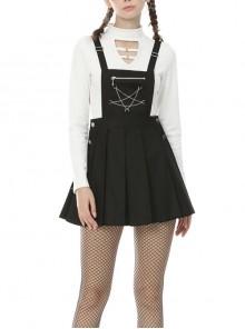 Star Chain Chest Zipper Side Button Black Punk Suspender Skirt