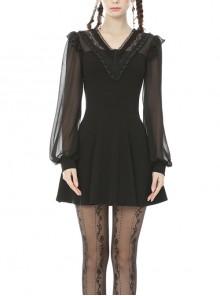 Lace Frilly V-Neck Mesh Long Sleeves Black Gothic Dress