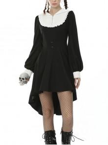 White Frilly Doll Collar Chest Zipper Waist Button Black Gothic Hoodie Dress