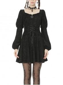 Black Chest Cross Lace-Up Waisted Long Sleeves Gothic Velvet Dress