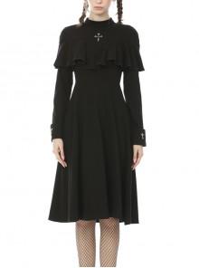 Chest Cross Frilly Shawl Long Sleeves Black Gothic Nun Midi Dress