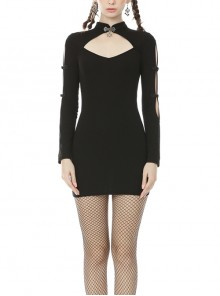 Cheongsam Collar Chest Hollow Cheongsam Buckle Long Sleeves Black Bodycon Punk Dress