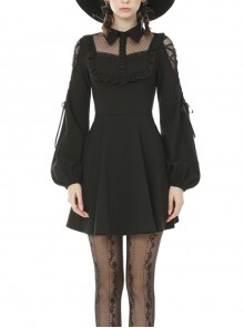 Lolita Lace Frilly Doll Collar Lace-Up Long Sleeves Black Gothic Dress