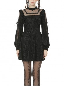 Lace See-Through Square Neck Cross Pendant Long Sleeves Black Gothic Dress