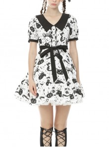 Doll Collar Button Bow Lace-Up Waisted Black Cat Printed White Gothic Dress