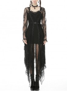 Black Lace Gothic Knitted Slim Sling Dress