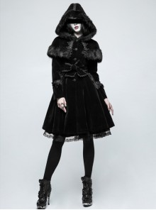 Gothic Lolita Gorgeous Black Female Lace Fur Coat