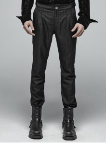 Gothic Male Black Casual Stripe Woven Fabric Trousers
