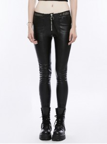 Steam Punk Female Black PU Leather Fish Net Lace Skinny Pants