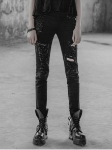 Punk Female Black Ripped Metal Chains Jeans