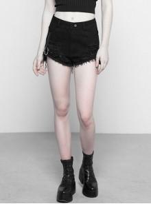 Steam Punk Casual Female Ripped Binding Black Shorts