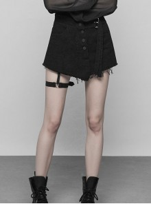 Steam Punk Casual Female Black Denim Fabric Buckle Mock Skirt Shorts