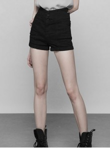 Steam Punk Female Black Hollowed Back Cross Shorts