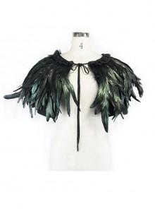 Gothic Black Lace Feather Shawl