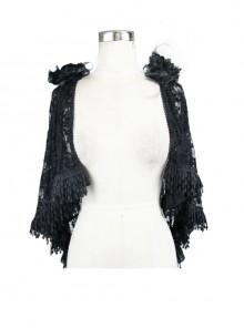 Gothic Shoulder Detachable Rose Macrame Hem Black Feather Lace Shawl