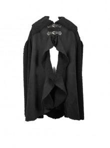 Punk Slits Design Black Composite Fur Big Cloak