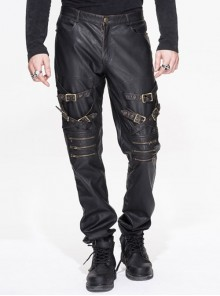 Multi-Loops Zipper Metal Inlay Bandage Bronze Hand-Rubbed Leather Punk Pants