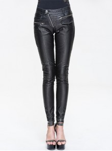 Inclined Placket Zipper Rivet Trouser Mouth Silver Hand-Rubbed Leather Punk Pants