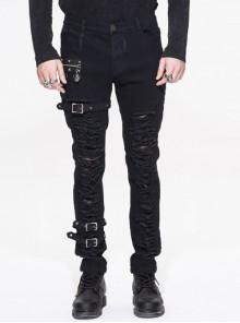 Stretch Broken Holes Zipper Rivet Dissymmetry Hasp Black Punk Pants
