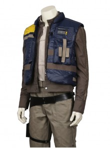 Rogue One A Star Wars Story Chirrut Imwe Halloween Cosplay Costume Navy Blue Vest