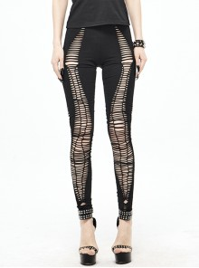 Weaved Burnt-Out Black Knitted Punk Leggings Pants
