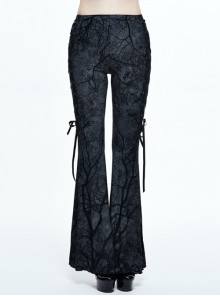 Branch Printing Side Lace-Up Stretch Knitted Gray Gothic Bell-Bottom Pants
