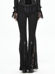 Lace Cross Decoration Knitted Black Gothic Bell-Bottoms Pants