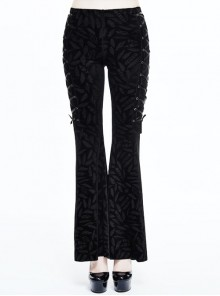 Black Feather Patterned Side Lace-Up Embossed Velvet Gothic Bell-Bottoms Pants