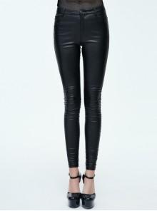 Elastic Coarse-Grained Tight Black Punk Imitation Leather Pants