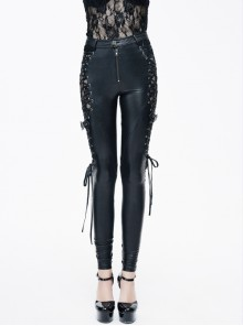 Black Side Spliced Rose Mesh Lace-Up Loops Gothic Leather Pants
