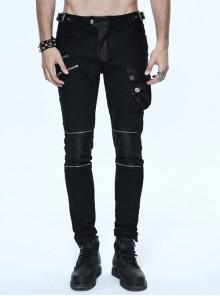 Black Twill Multi-Bag Zipper Devil Button Punk Pants