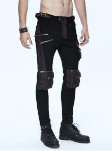 Black Twill Brown Multi-Bag Zipper Devil Button Punk Pants