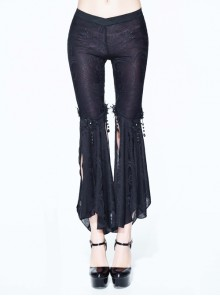 Paisley Dark Fringe Lace Pendant Black Gothic Ninth Bell-Bottoms Pants